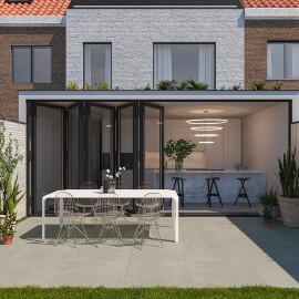 tegels, binnen, buiten, vloertegels, terrastegels