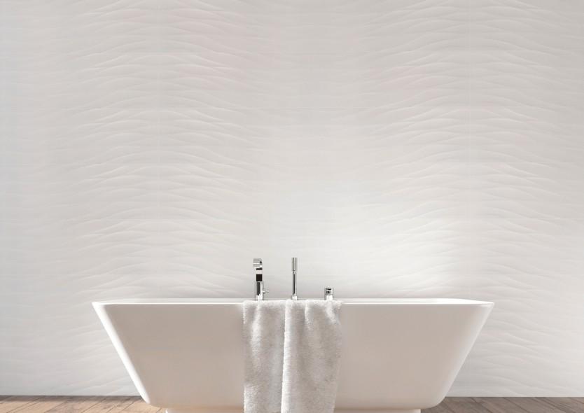 impermo trendy 3D keramische witte wandtegel voor de nieuwste trend in je badkamer