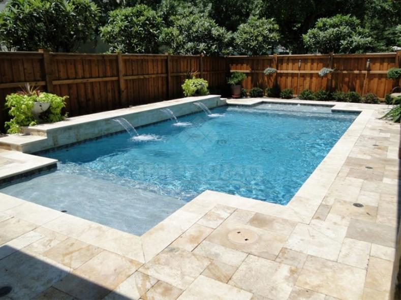 natuursteen, travertino, legverband natuursteen, zwembadtegel, terrastegel, tegels, impermo, moderne tuin, modern terras, terras aanleggen, vorstvrij