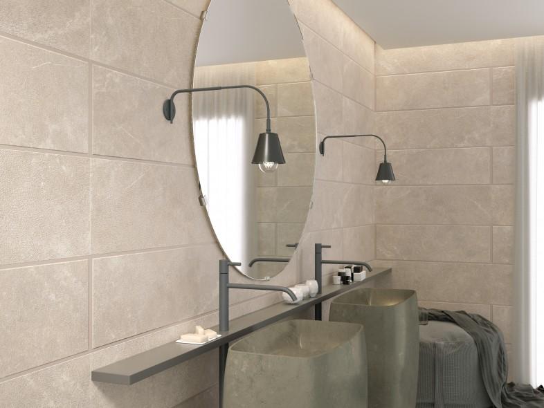 Impermo carrelage céramique salle de bains en teintes naturelles format XL look contemporain