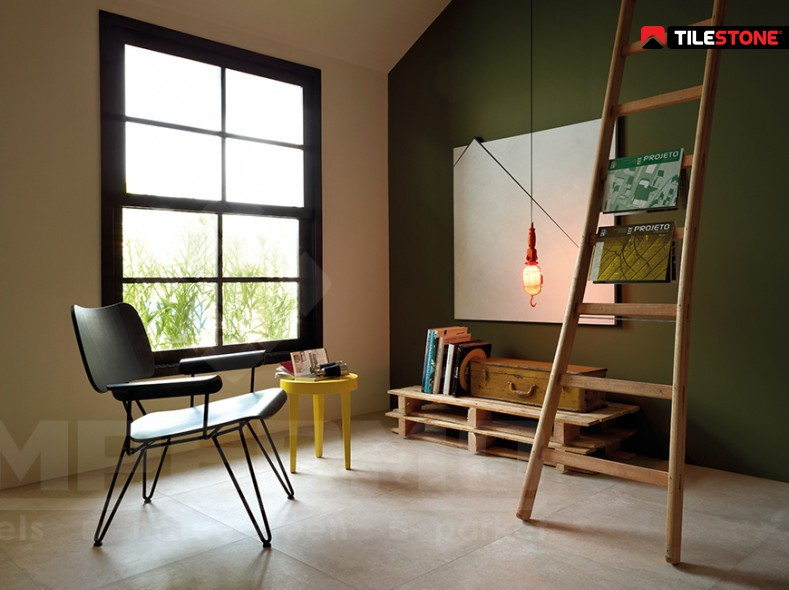 keramische vloertegel, vloertegel, midden grijs, imitatie natuursteen, imitatie beton, Tilestone