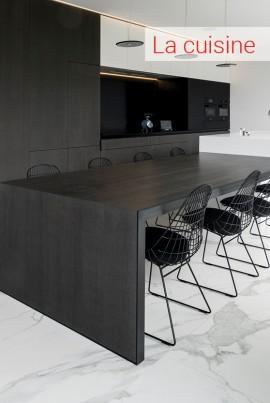 cuisine moderne, cuisine blanche, sol cuisine, carrelage sol, carrelage noir, carrelage gris, carrelage effet béton, carrelage céramique, pierre naturelle, cuisine moderne